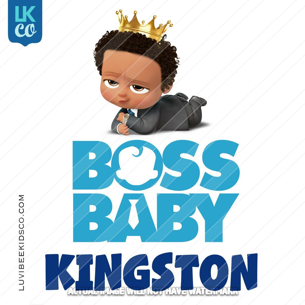 Boss Baby Iron On Transfer African American Boy With Crown Baby Birthday Party Boy Boss Baby Baby Birthday Shirts
