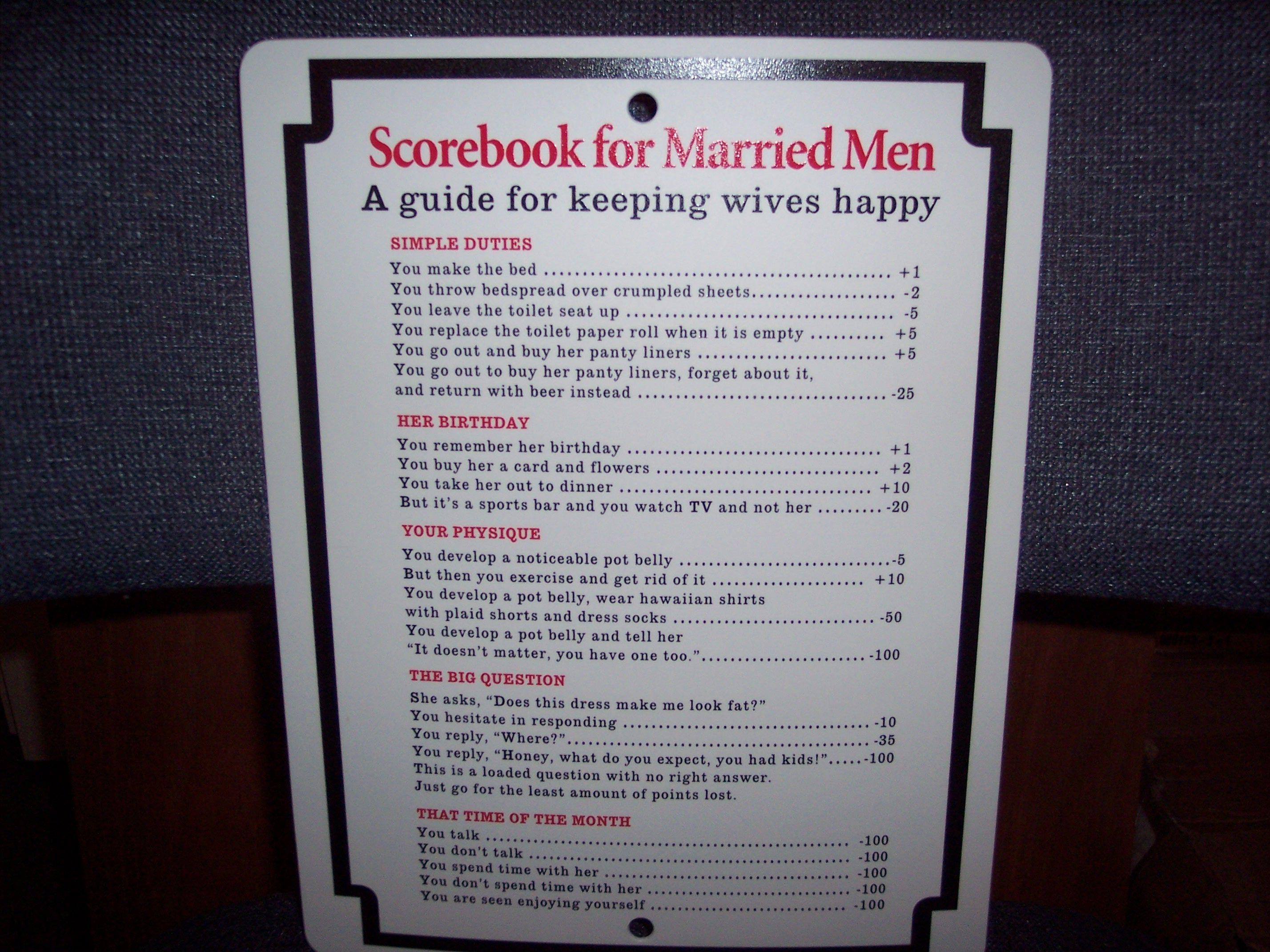 SCOREBOOK FOR MARRIED MEN* Sign garage kitchen MAN CAVE 8.5 x 11 ...