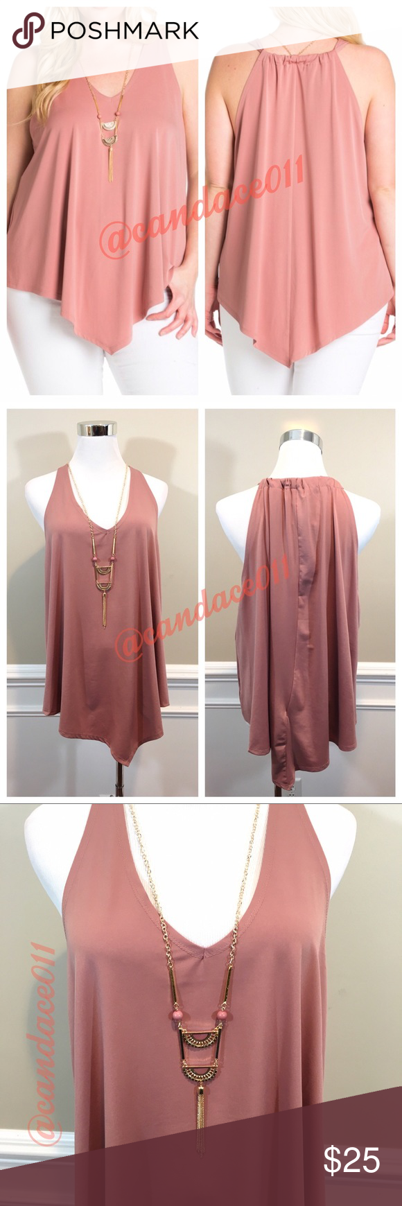 Mauve Pink Sleeveless V-Neck Top 🔹96% Polyester, 4% Spandex 🔹Comes with removable necklace 🔹Size Recommendations: 1X (16-18); 2X (20-22); 3X (24-26) CC Boutique  Tops Tank Tops
