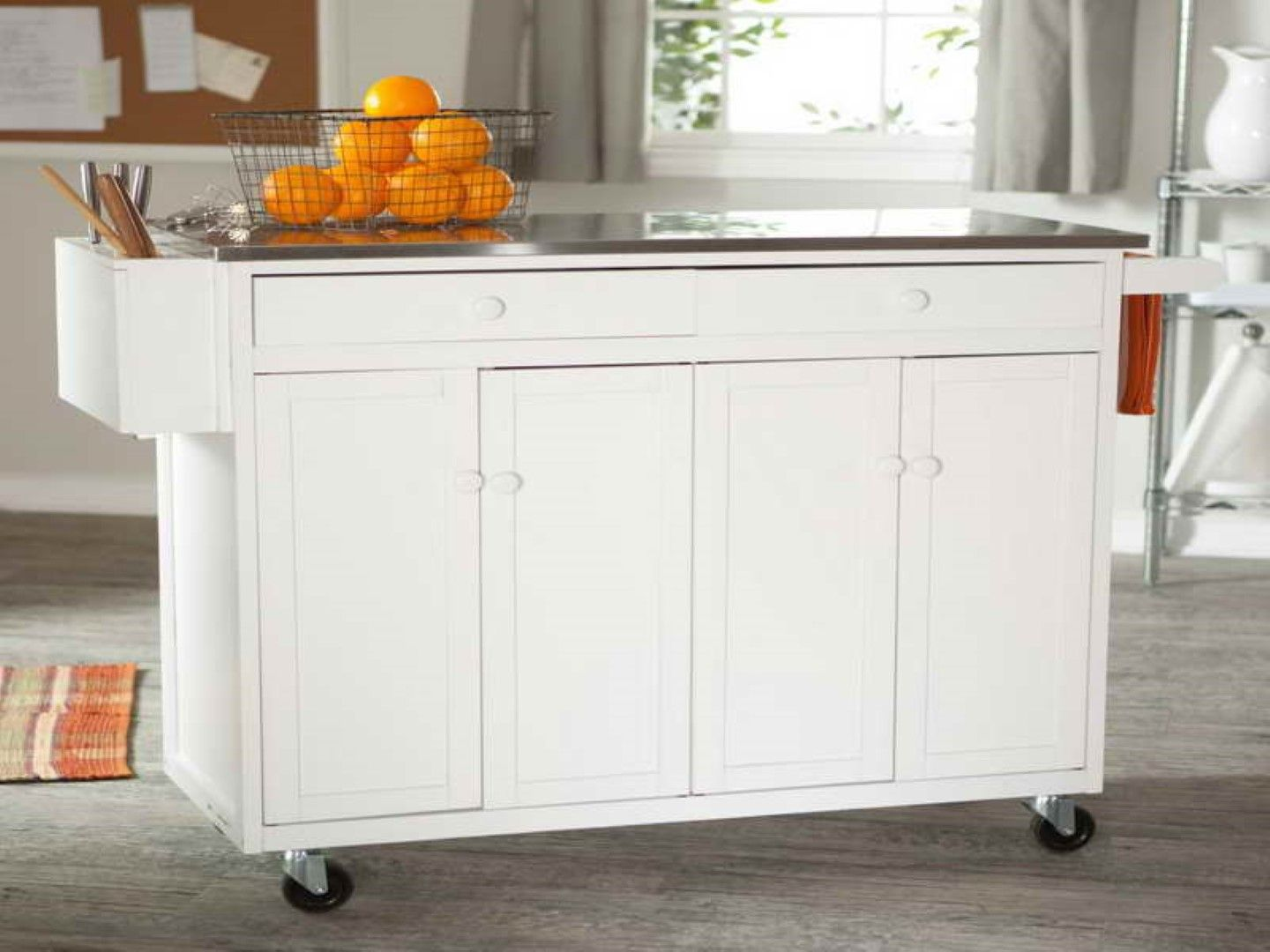 Kitchen, Wire Fruits Basket And Stainless Steel Countertop Feat Beautiful  Modern Portable Kitchen Island Design: Small Portable Kitchen Island  Designs with ...
