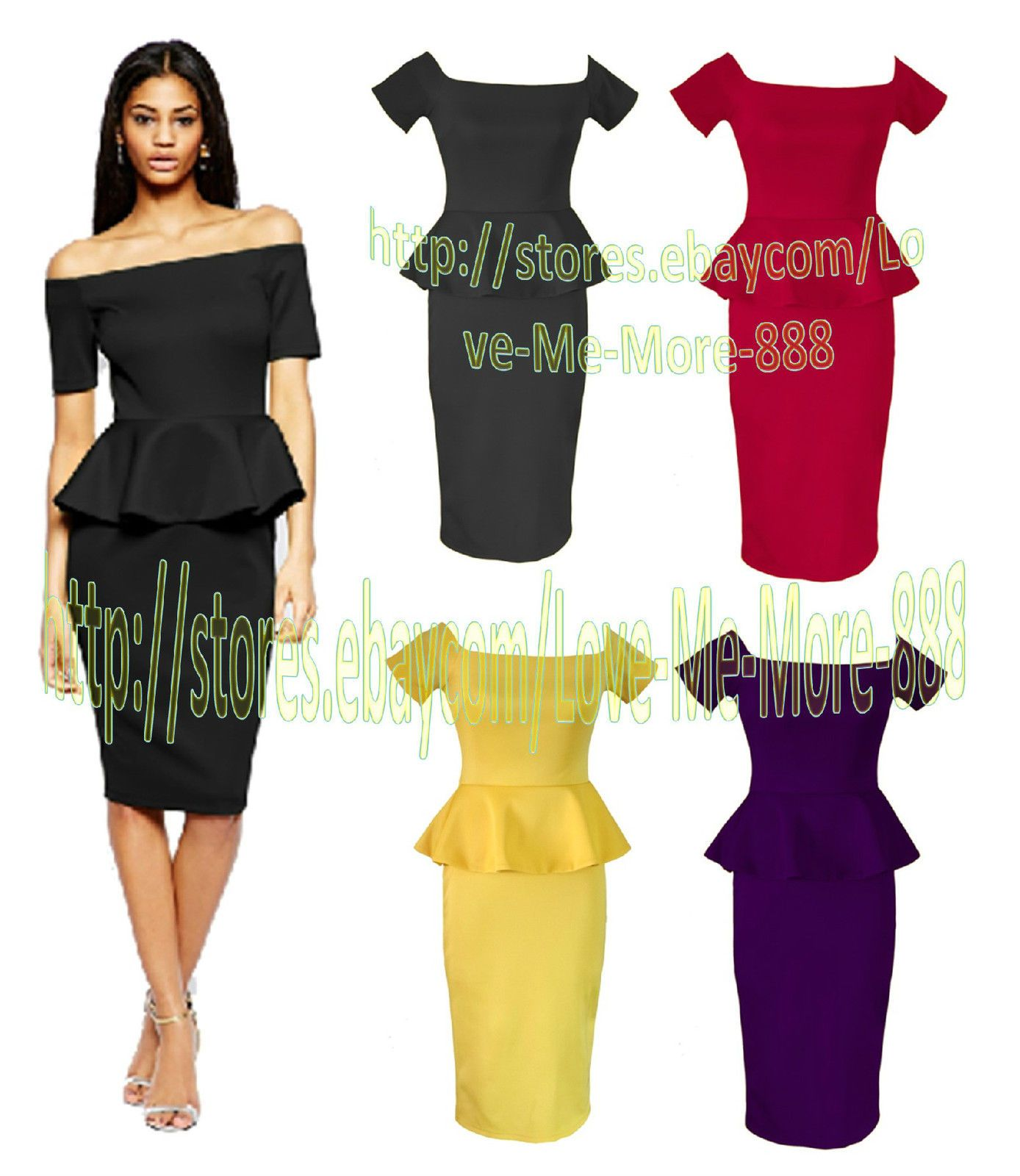 Womens off the shoulder peplum ruffle tight slim fitted bodycon