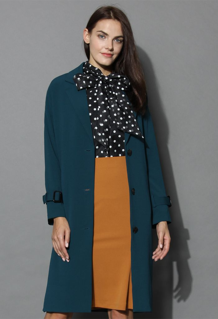 Emerald Green Longline Cocoon Coat - Outers - Retro, Indie and Unique Fashion