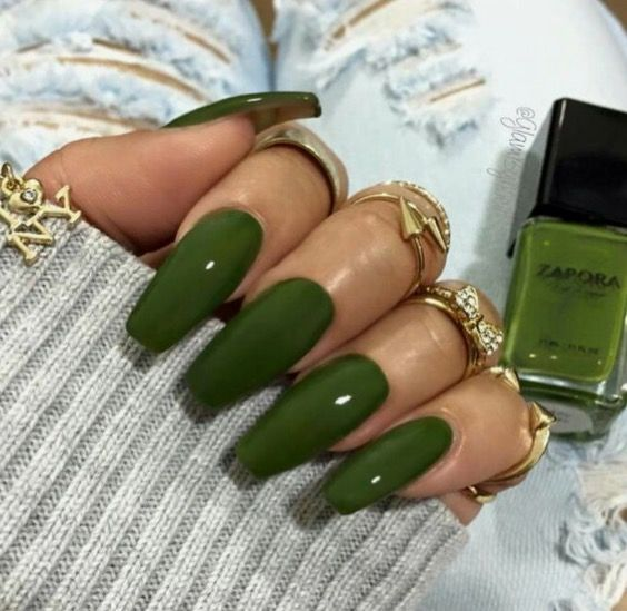 How To Make Olive Green Nail Polish: Pinterest: Thequeensamm ‼️