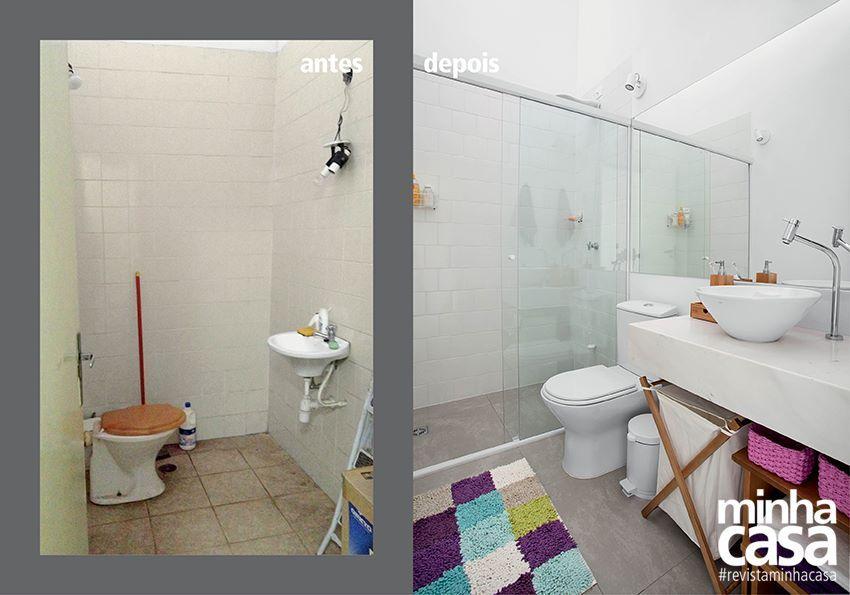 Antes e depois: banheiro de 2,70 m² parece maior com mudança na planta.  A disposição anterior dava a impressão de que o cômodo era menor. A solução: chuveiro, vaso sanitário e pia na mesma parede.