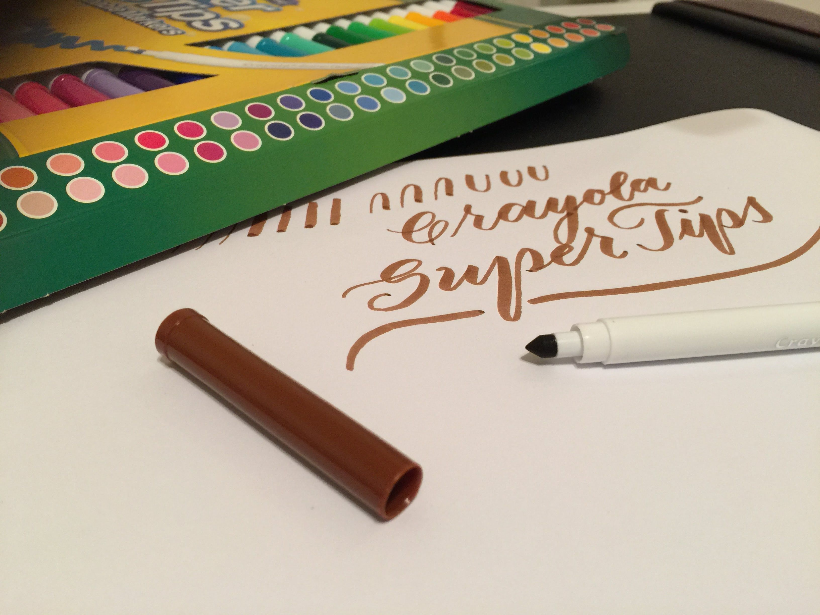 Using crayola super tips markers for modern calligraphy writing