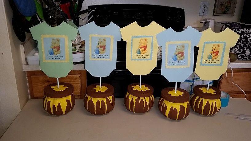 Winnie The Pooh Baby Shower Centerpieces Disney Baby Shower Baby Bear Baby Shower Baby Boy Shower