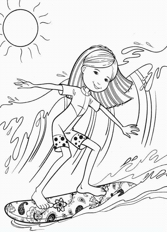 groovy girl surfing coloring pages - Surfboard Coloring Pages Print