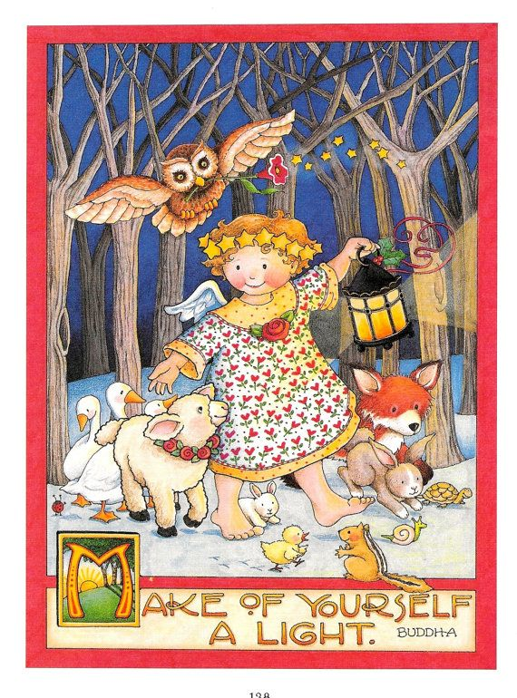 MARY ENGELBREIT prints Christmas Angel Animals by Treehouse58 ...