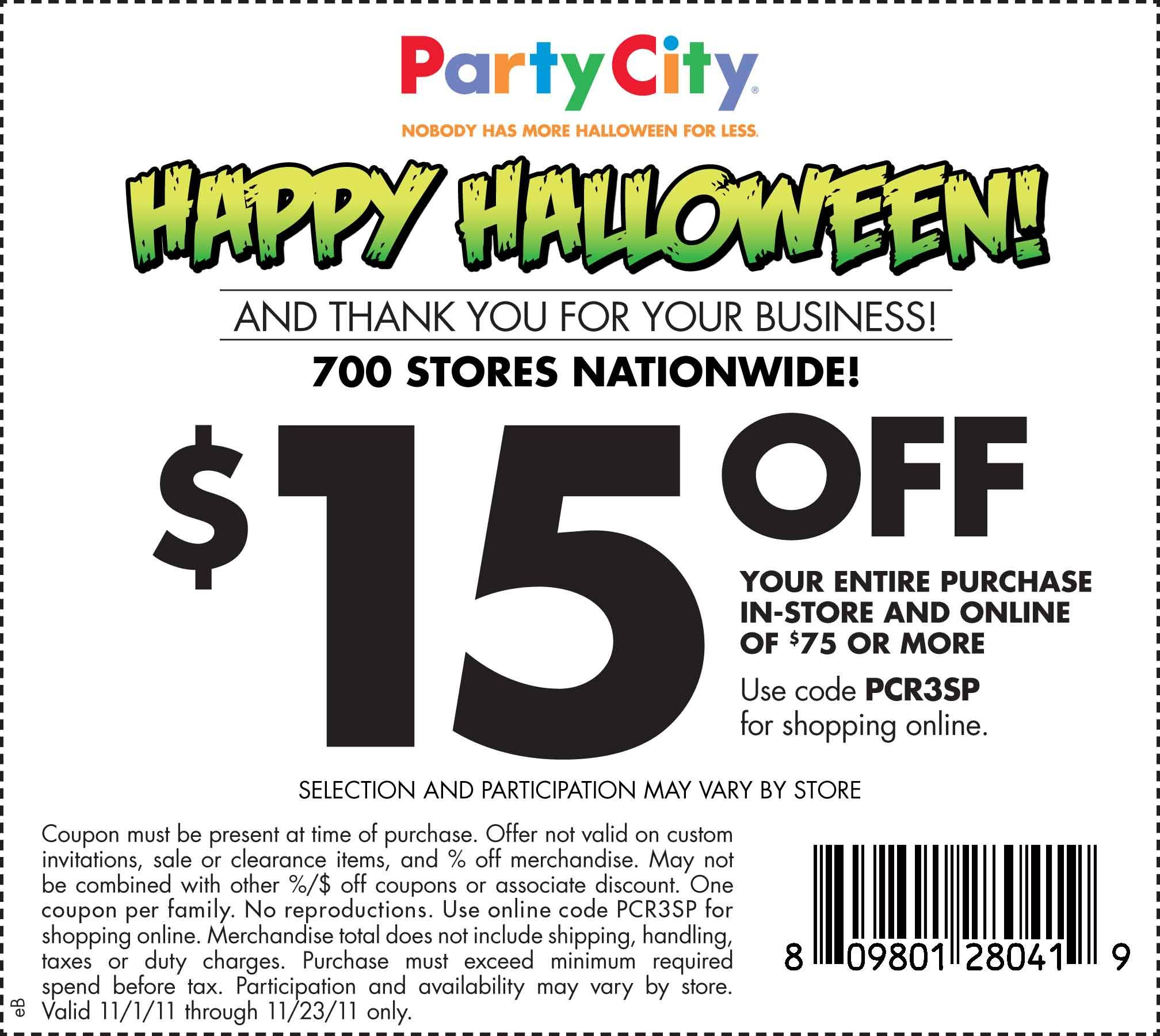 A $15 off coupon for Party City in time for Halloween. It is non ...