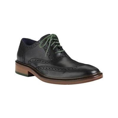 $198, Cole Haan Colton Winter Wingtip Oxford Black Black Grain Oak Green  Shoes C11756.