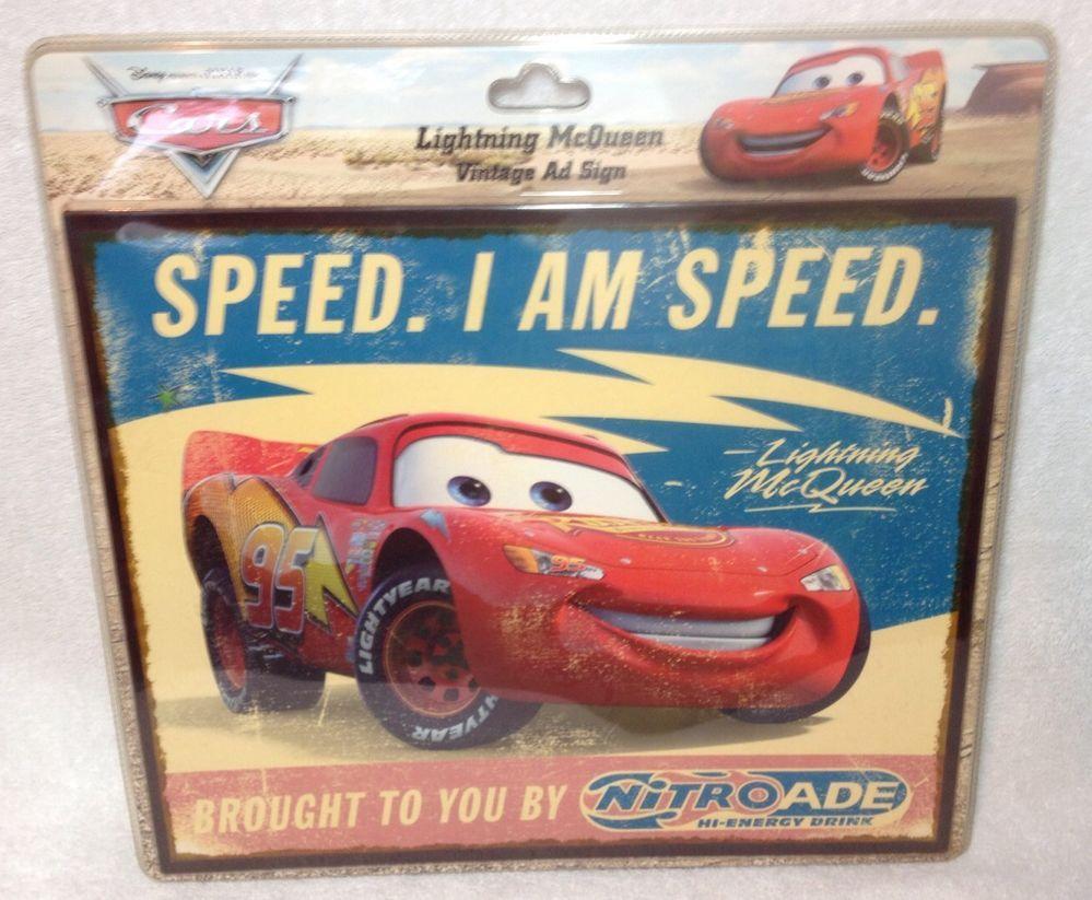 Disney Pixar CARS - Lightning McQueen Vintage Ad Sign I AM Speed Nitroade NEW #DisneyPixar