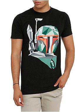 Black T-shirt from <i>Star Wars</i> with geometric Boba Fett Design on front.<ul><li> 100% cotton</li><li>Wash cold; dry low</li><li>Imported</li><li>Listed in men's sizes</li></ul>
