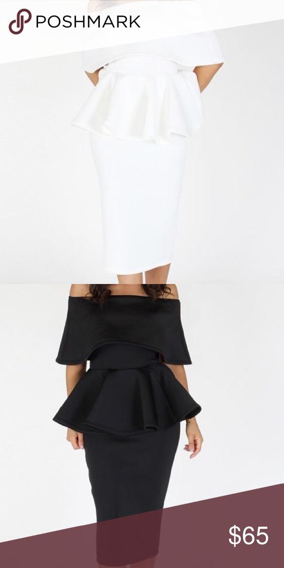 3fd67d1cb6 Missy White Peplum dress Description: Solid layered off shoulder peplum top  with princess seams and back zipper closure; pencil skirt Dresses Midi