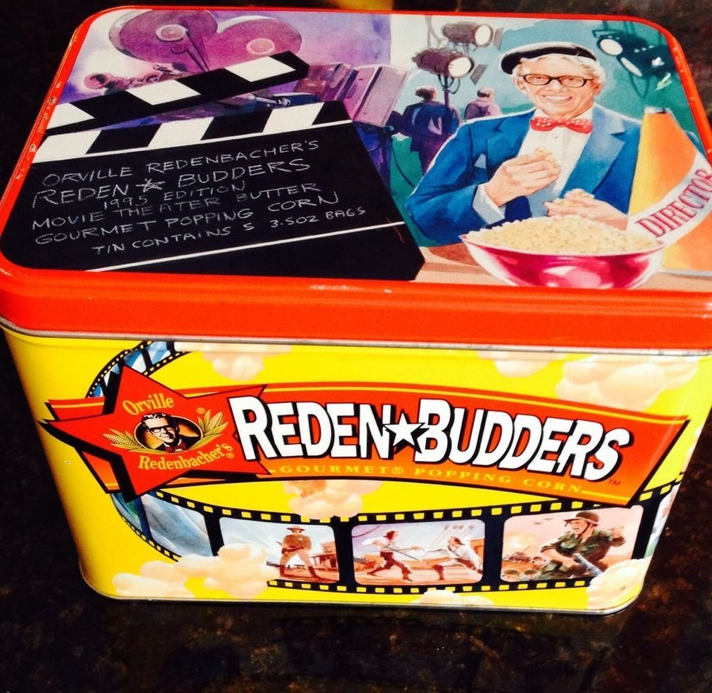 Orville Redenbacher Popcorn Tin Reden Budders 1995 Storage Tin #Orvilleredenbachers