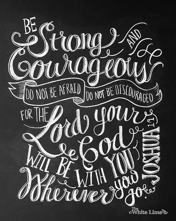 Be Strong And Courageous Print Joshua 1 9 Bible Verse Sign