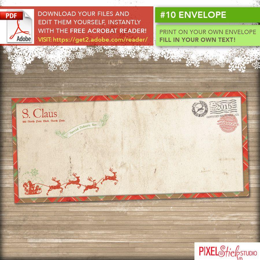 instant download     10 santa letter envelope template