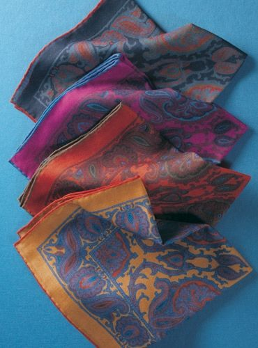 Wool Printed Paisley Pocket Squares 2016 Fall Preview Collection