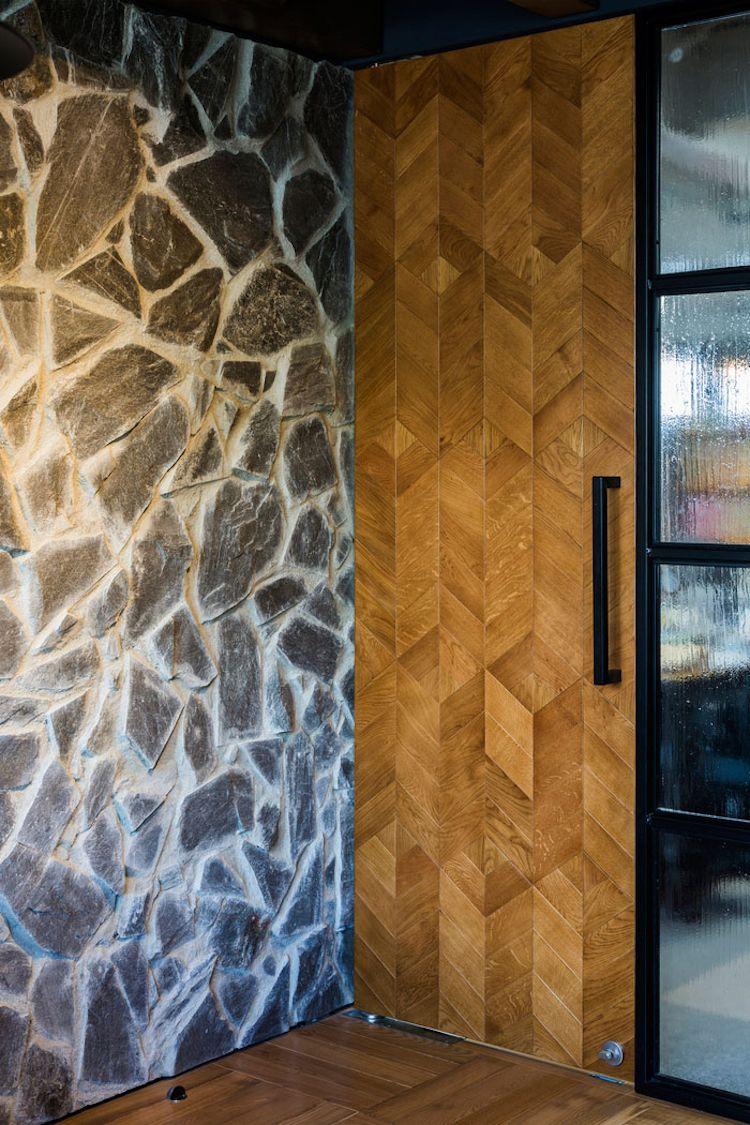 Holzfliesen Wand Tur Parkettboden Naturstein Wandverkleidung