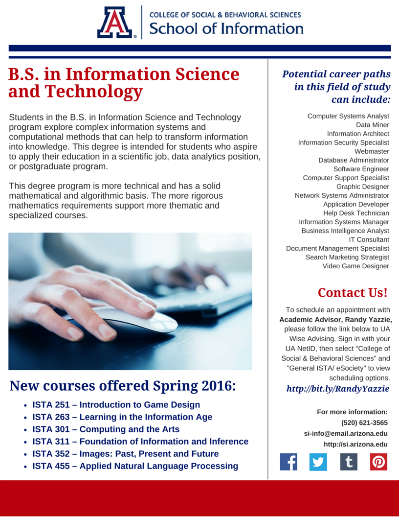 B S In Information Science And Technology At The University Of Arizona School Of Information Spring Arizona School Behavioral Science Science And Technology