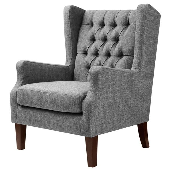Maxwell Gray Tufted Wingback Chair