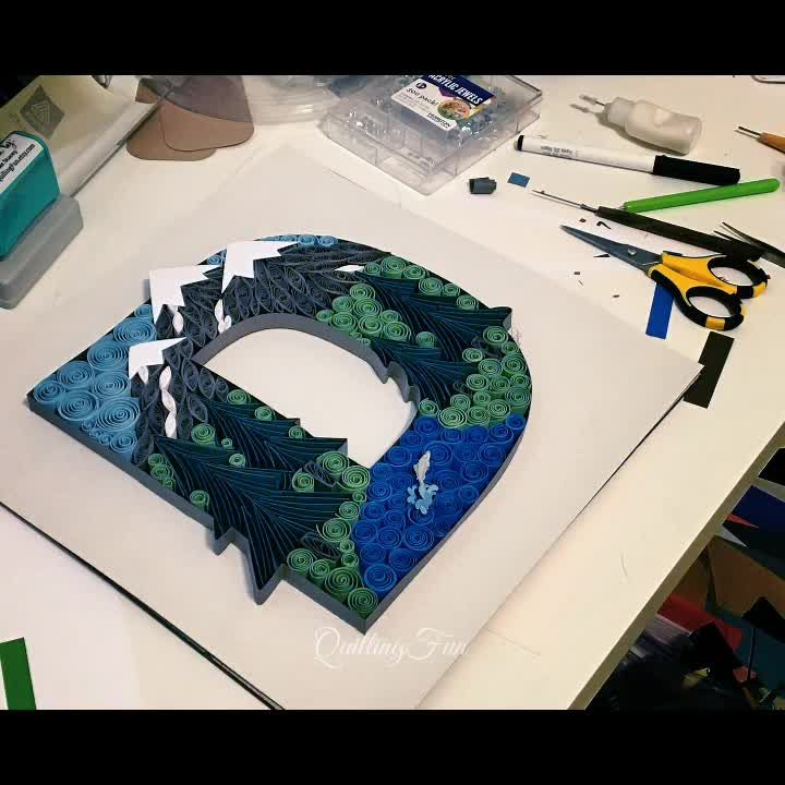 Quilled D- Mountain Scene Featuring Climb Every Mountain by Jordan Smith