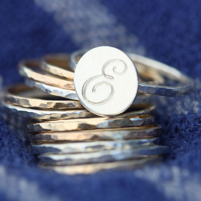 Engraved Initial Stackable Ring - Erica Sara Designs
