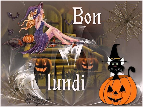 Lundi, halloween, sorcière, citrouille, chat noir