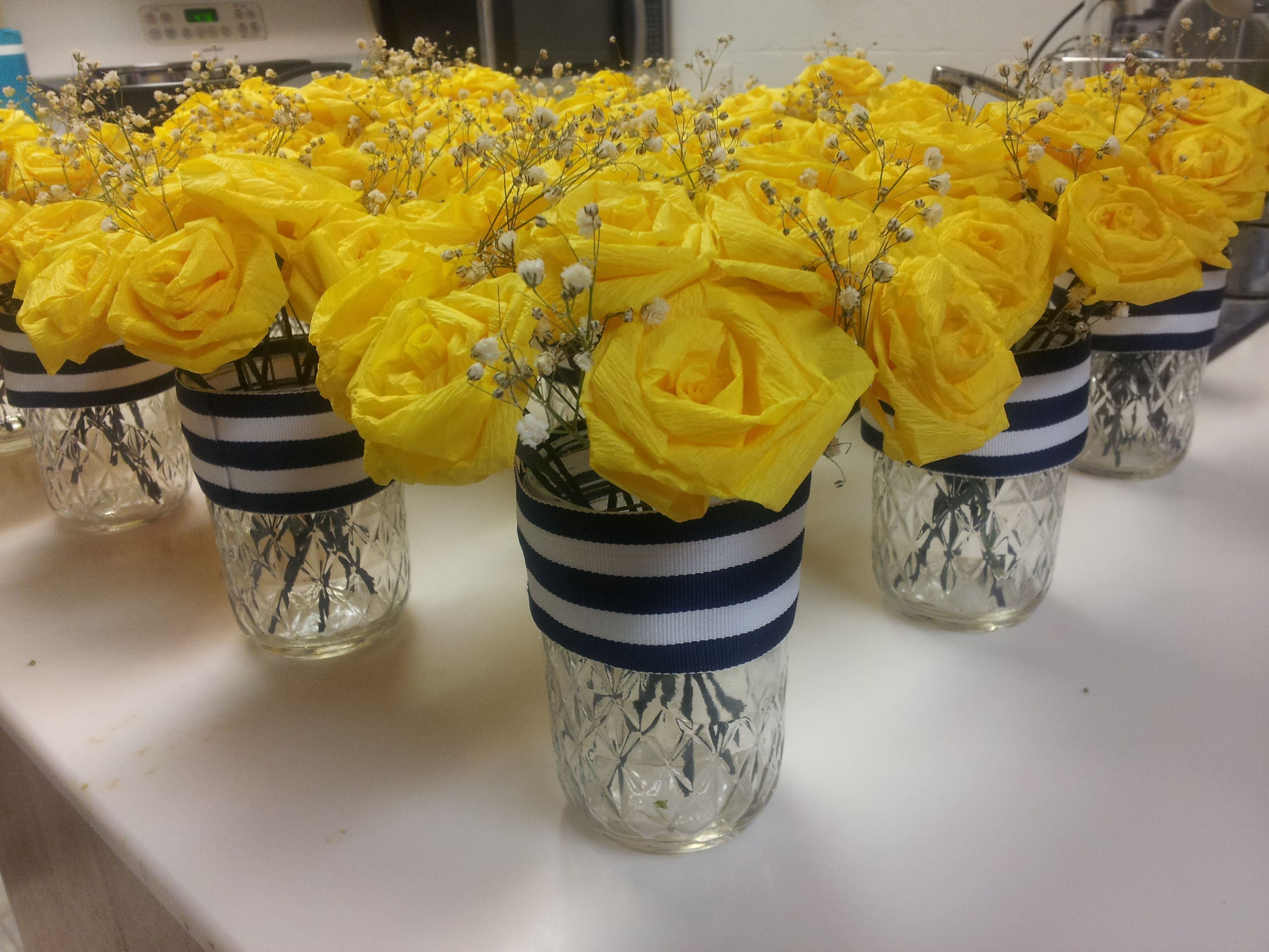 Nautical Centerpiece Made From Crepe Paper Roses And Mason Jars I