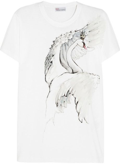 0b6b00c16f99 RED Valentino Feather-embellished printed cotton-jersey T-shirt on shopstyle .com