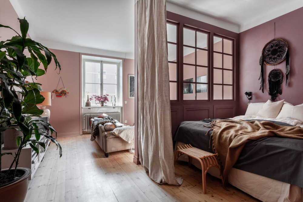 Pink Studio Apartment With Glass Divided Wall Bedroom Interior