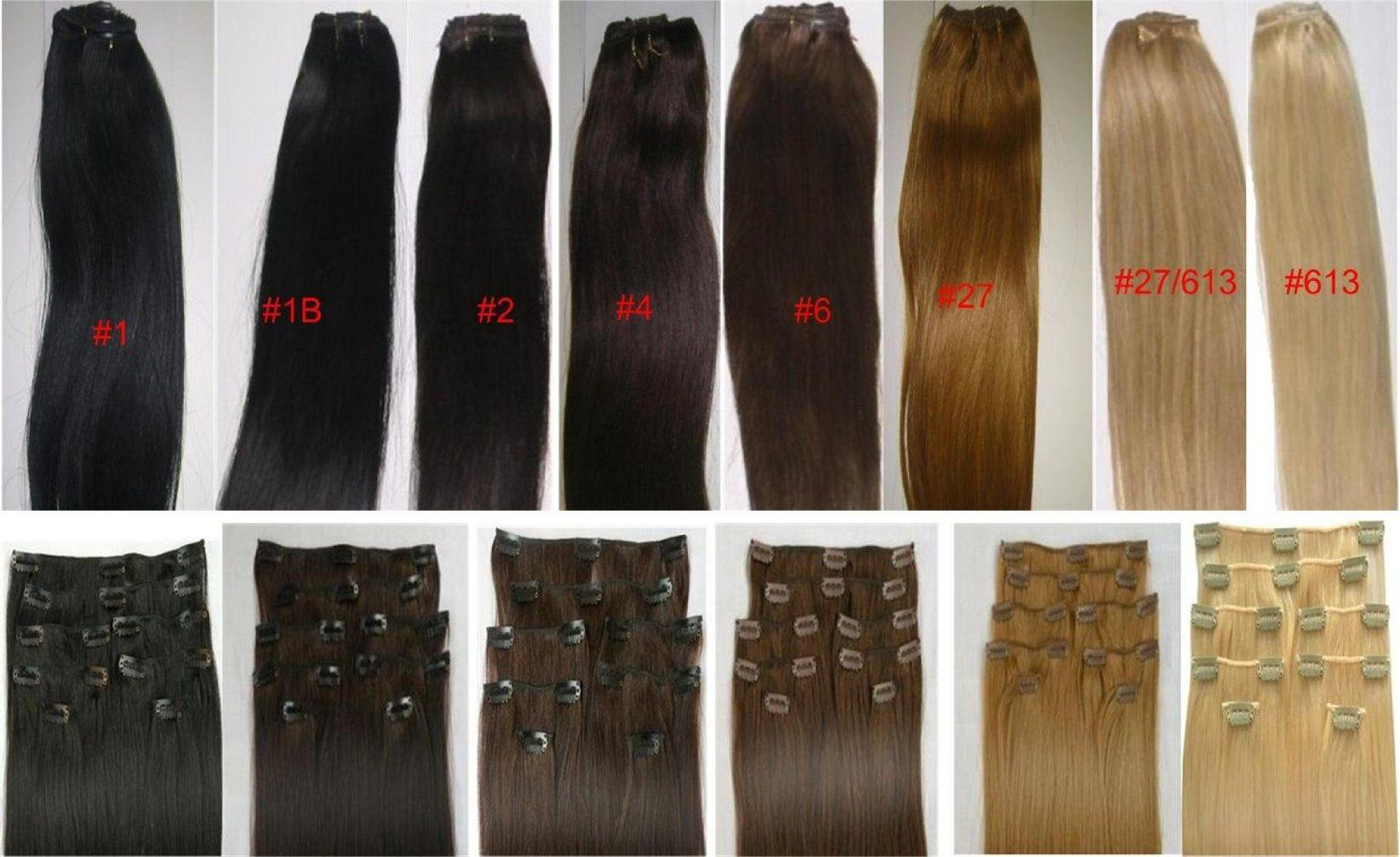 "18"" Clip in human hair extensions, 10pcs, 100g"