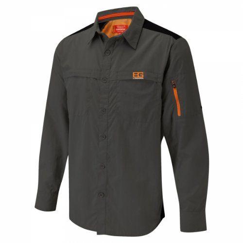 Craghoppers Bear Grylls Mens Treck Long Sleeve Shirt Black Pepper Large