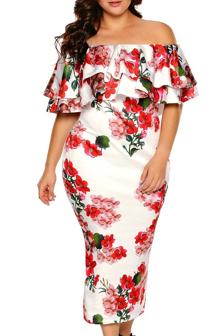 5af0f64a8701 White Floral Layered Ruffle Off Shoulder Midi Dress | Fashion Style ...