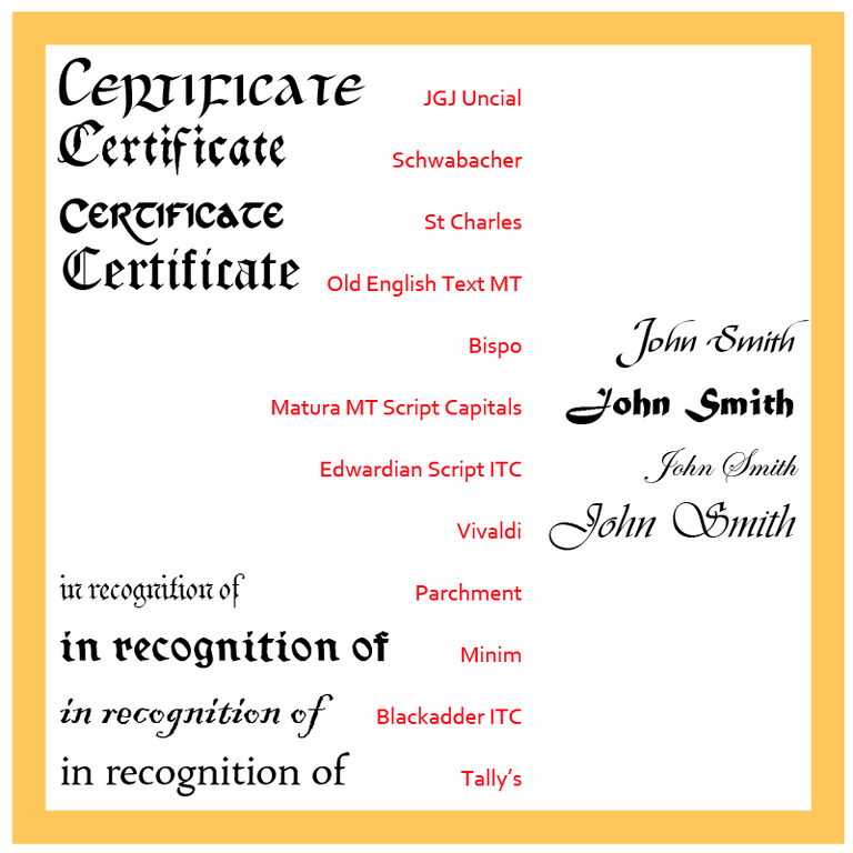 Give Certificates A Sophisticated Look With Traditional Fonts