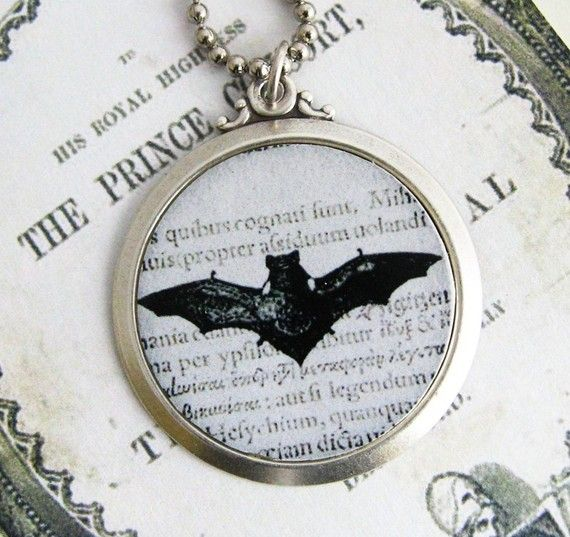 Vintage batHalloween pendant with chain by Arete on Etsy, $12.00