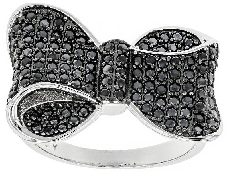 """Black Spinel Rhodium Over Sterling Silver """"Bow"""" Ring 1"""