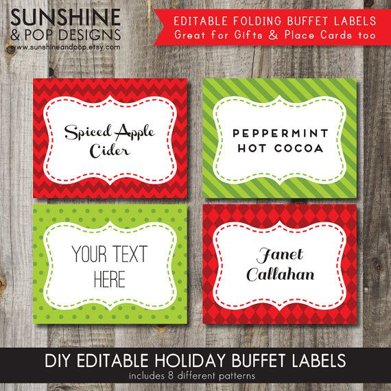 instant download 8 editable christmas holiday folding buffet cards
