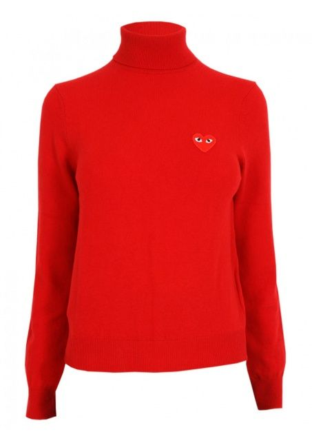 Comme Des Garcons Clothing Play Ladies L S Knit Turtleneck Red Red