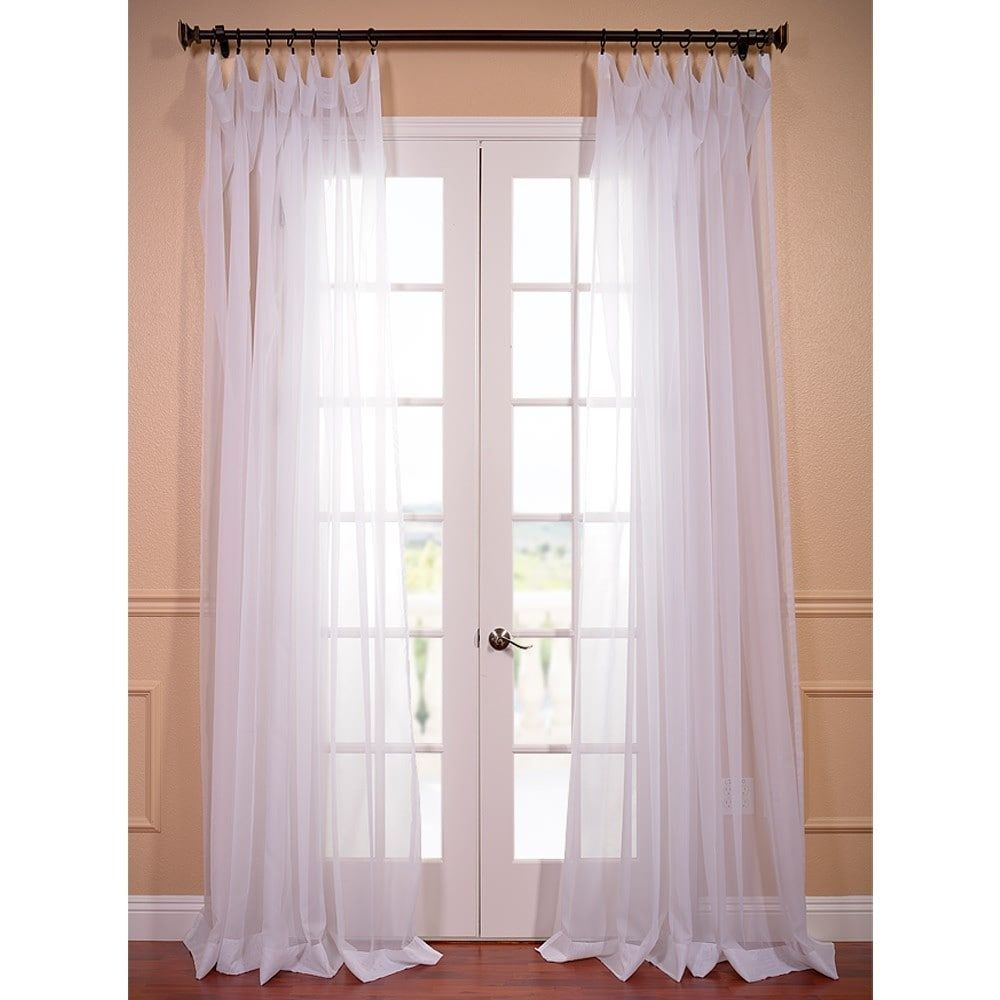 Exclusive Fabrics Extra Wide White Voile Sheer Curtain Panel 100W X 96L Size