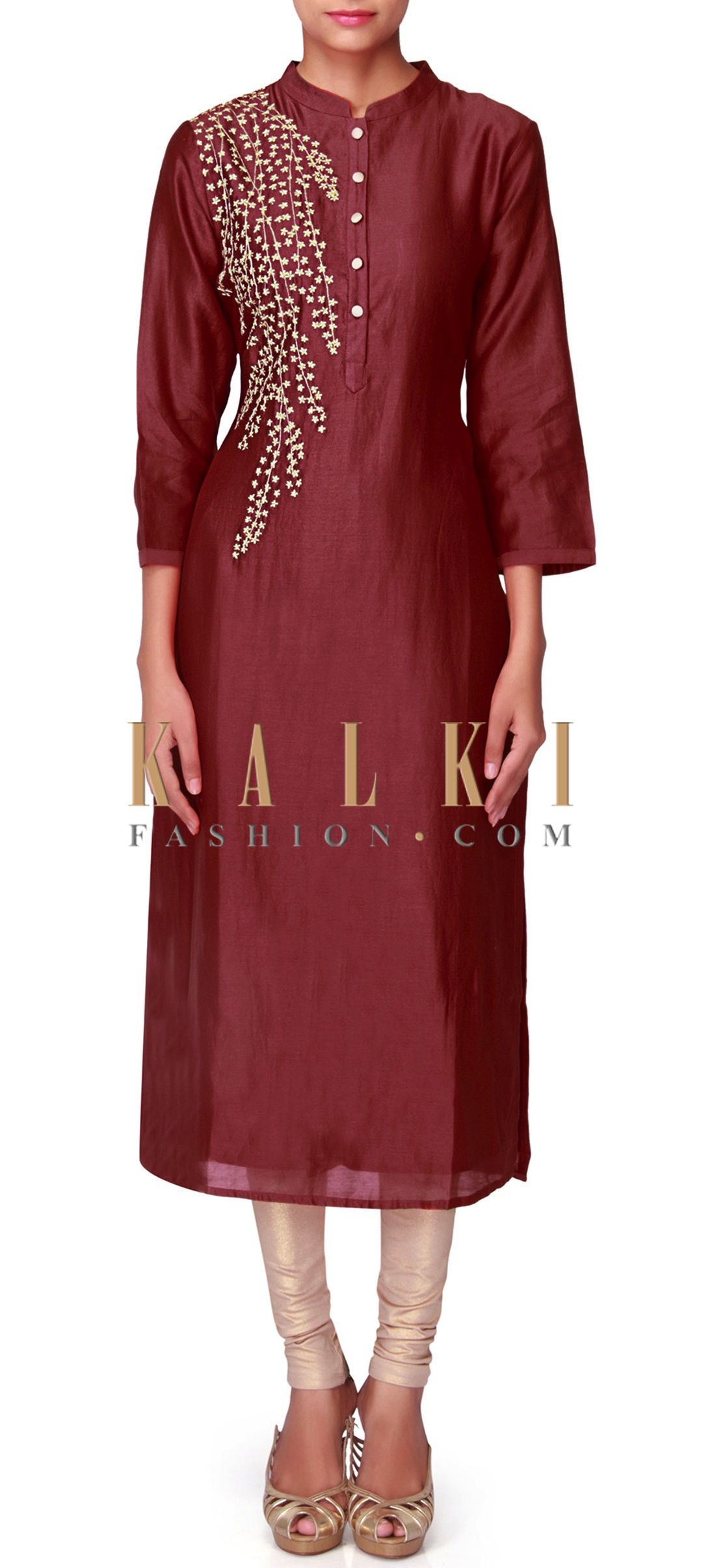 43858602f0 Maroon kurti with one side resham embroidery only on Kalki | Kalki ...
