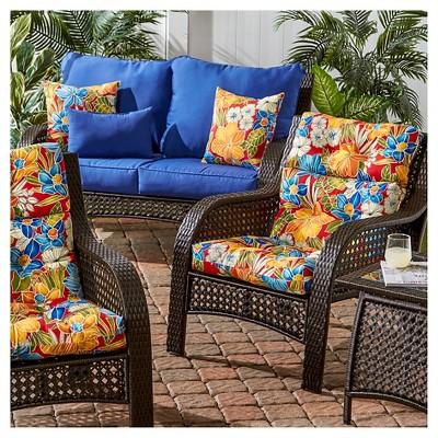 Aloha Red Floral Outdoor High Back Chair Cushion Kensington Garden Patio Chair Cushions Chair Cushions Patio Chairs
