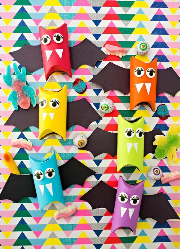 Rainbow Paper Tube Bats Cute Halloween craft for kids Make these - how to make homemade halloween decorations for kids