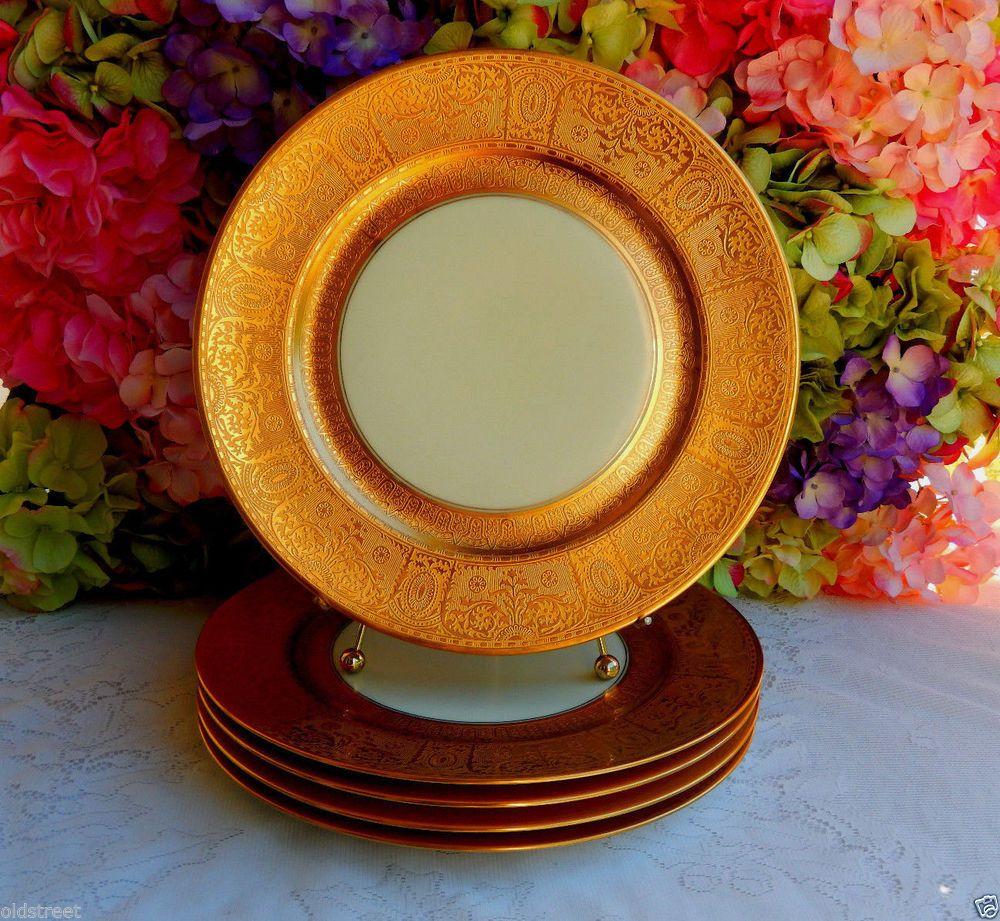 5 Vintage Furstenberg German Porcelain Dinner Plates Gold Gild ~ Encrusted #Furstenberg & 5 Vintage Furstenberg German Porcelain Dinner Plates Gold Gild ...