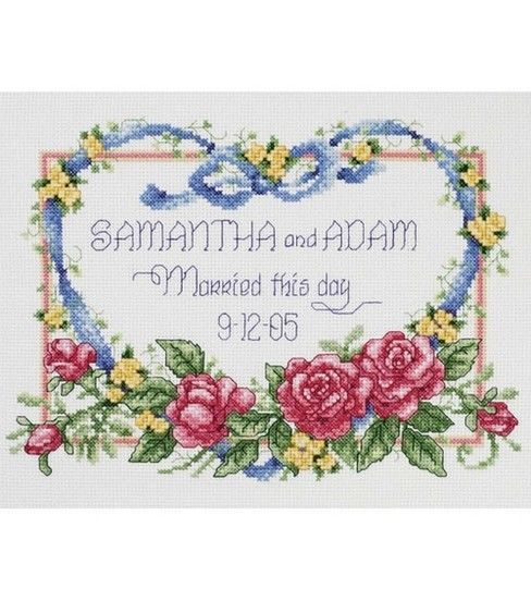 14 Count Aida Cloth 10 x 8 Dimensions Happily Ever After Wedding Record Counted Cross Stitch Kit for Beginners