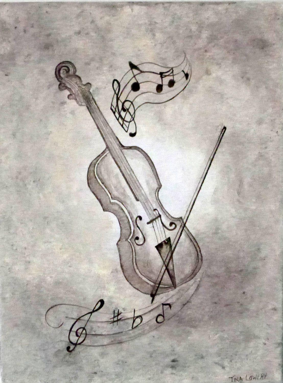 Violin. 12' x 16 Original Painting. Earth tones by ArtbySimplyMe, $65.00