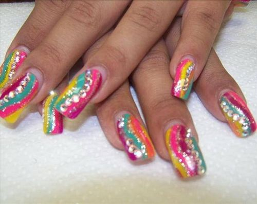 colorful acrylic nails art