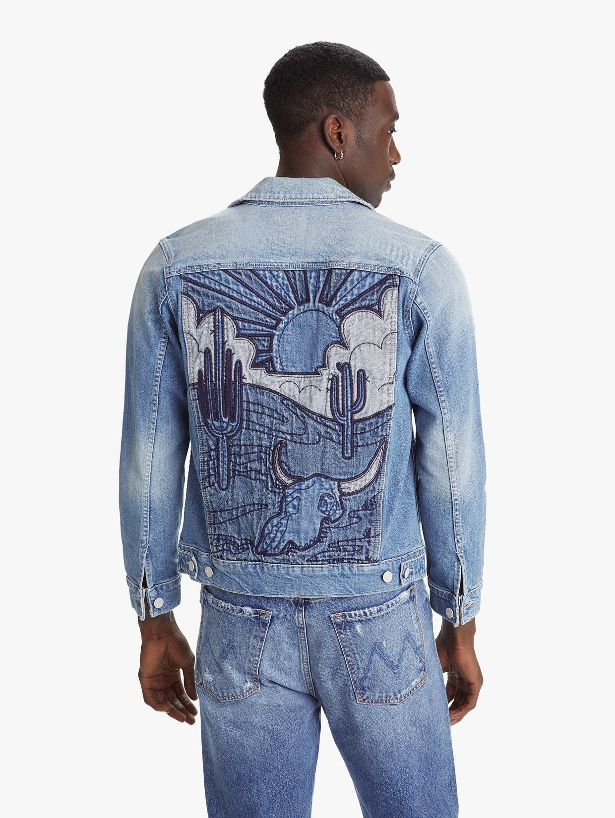 The Mountain Drifter Jacket Deserted In 2021 Diy Denim Jacket Painted Denim Jacket Denim Ideas [ 1650 x 1240 Pixel ]