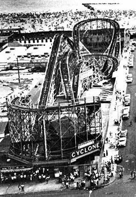 The Cyclone Roller Coaster 1927 Present At Coney Island In Brooklyn New York It Traveled Approximately Six First Roller Coaster Coney Island Old Photos