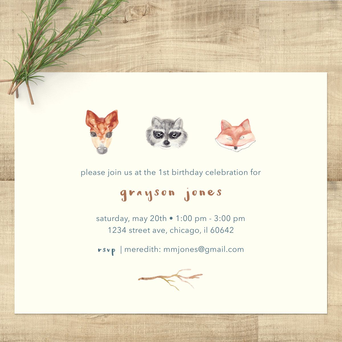 Woodland Animals Watercolor Birthday Invitations Kids Birthday