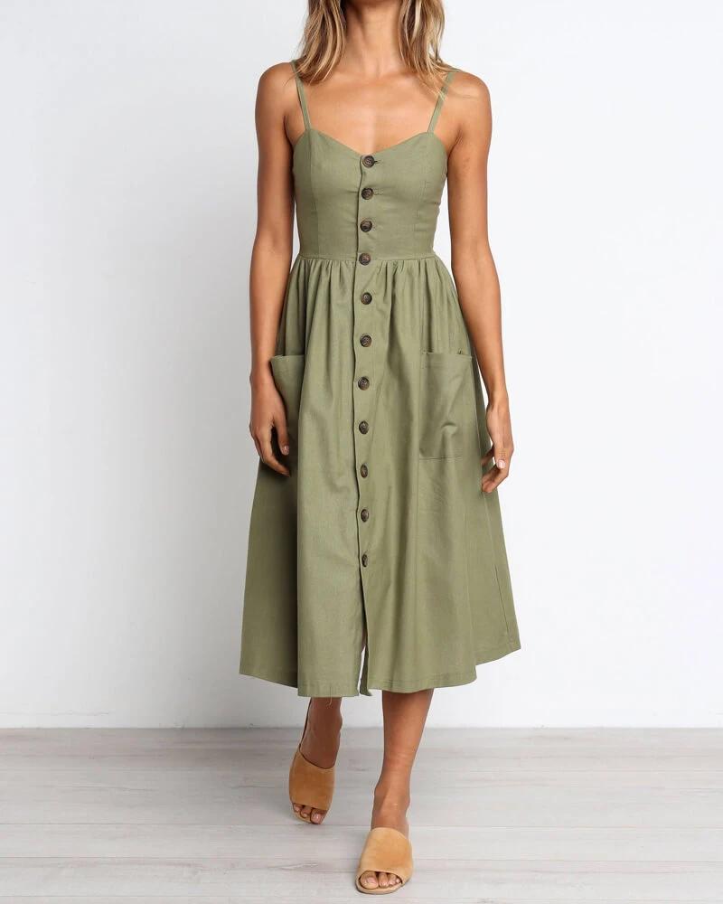 Charlenne Midi Dress With Pockets In Army Green Flirtyfull Army Green Dress Western Wear Outfits Green Dress [ 1000 x 800 Pixel ]